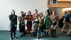 Avatar/Korra group cosplay squad salutes with Attack on Titan cosplayers