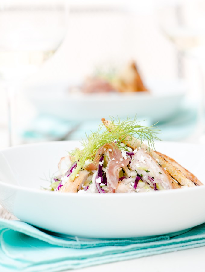 Roast Chicken, Fennel & Cabbage Chopped Salad