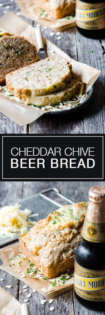 Cheddar Chive Beer Bread - A heart bread filled with oats, cheese, and chives. Perfect with soup.