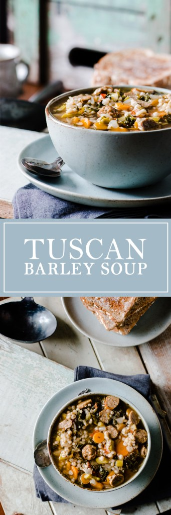 Tuscan Barley Soup - A hearty soup with turkey sausage, veggies, barley and more.