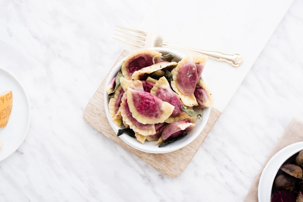Beet Green Ravioli - Homemade ravioli filled with delicious beet greens.