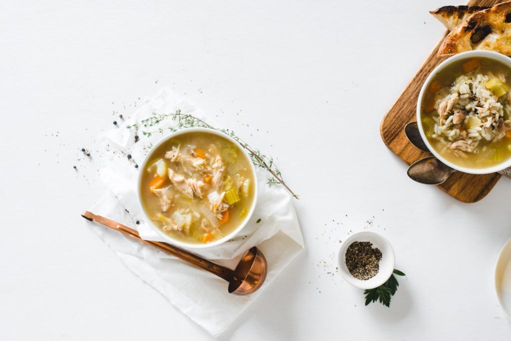 Turkey Wild Rice Soup - Filled with vegetables, wild rice, plenty of turkey, and fresh lemon juice.