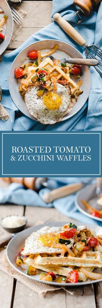 Roasted Tomato & Zucchini Waffles - These savoury waffles are a great way to use up those end of season garden vegetables.