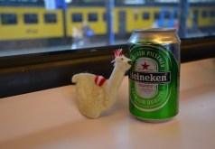 Lama having an Heineken in the train :)