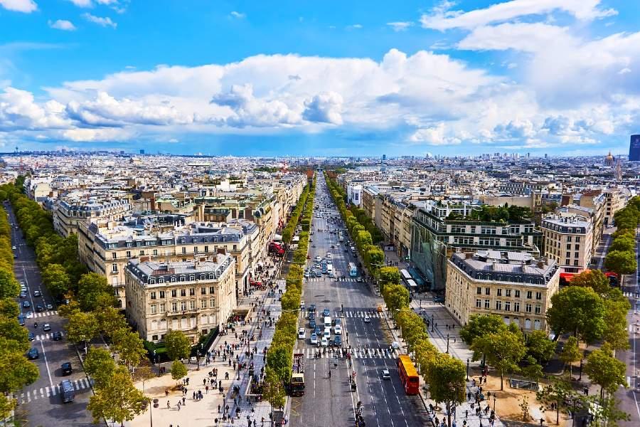 view of paris from the arc de triomphe