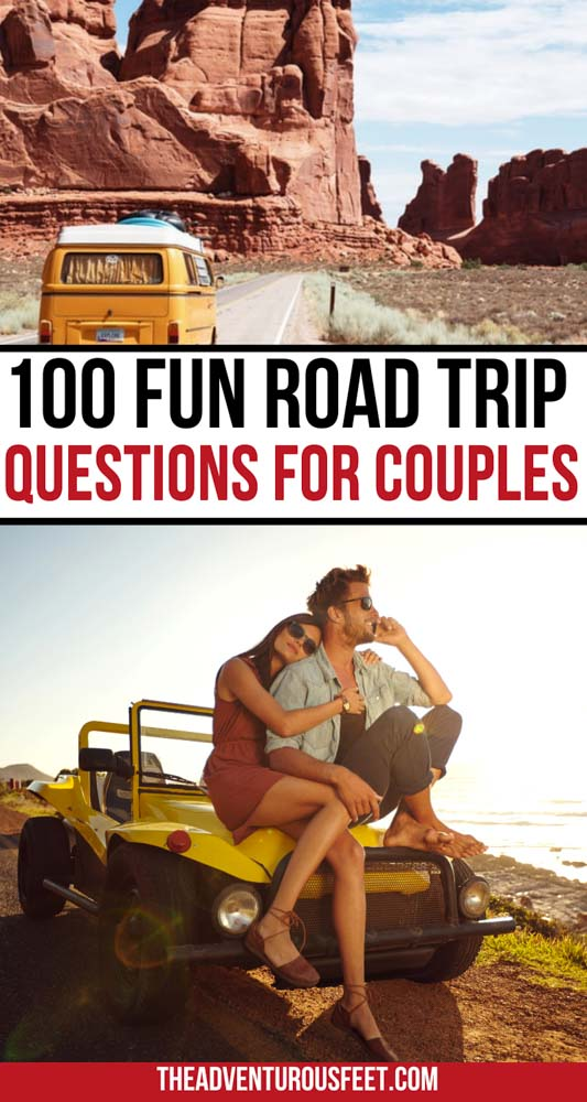 Are you planning a couple's road trip and looking for ways to stay entertained along the way? Then check out these road trip questions for couples that will inspire fun and deep conversations.  fun road trip questions for couples  couples road trip questions  road trip questions for married people  conversation starters road trip questions for couples  questions for road trip   car questions for road trips  road trip quizzes for couples  questions for a road trip to kill boredom.