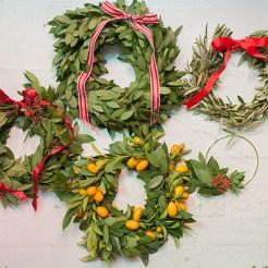 Jordan's three holiday wreaths
