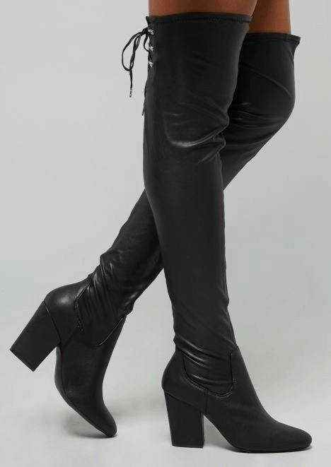 cbb266c07d1 Forever 21 skinny faux leather pants rue21 black faux leather lace-up clasp  over-the-knee heeled boots