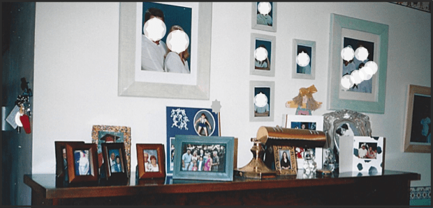Sanderson piano with family photo on top and on the wall