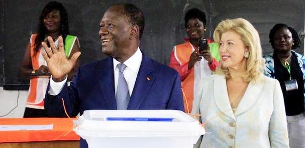 From left, Ivorian President Alassane Ouattara