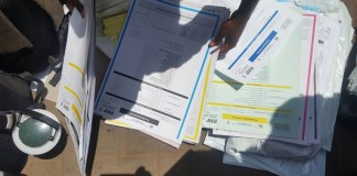 Ballot papers on election day