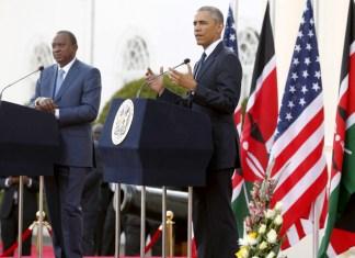 Then US President Barack Obama and Kenya President Uhuru Kenyatta address civil servants and public at Stahe House, Nairobi, Kenya. Photo: Henry Owino/The AfricaPaper