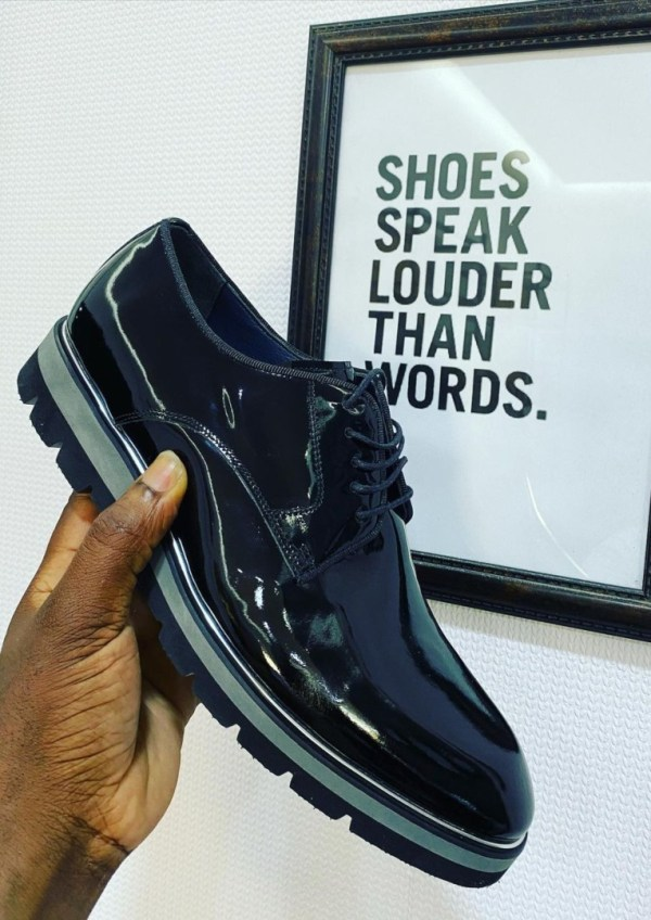 Fresh By Dotun Wet Look Lace Up Shoe