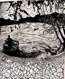 Zirahuen Linoleum block print $40