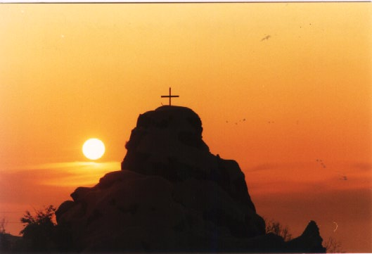 Sunset with a cross