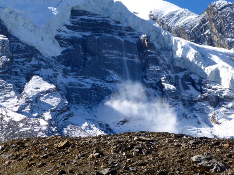Small avalanche Thorong La Pass Annapurna Circuit Nepal
