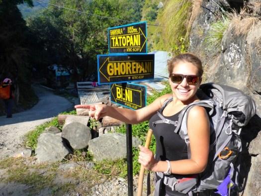 Sign to Ghorapani, Nepal