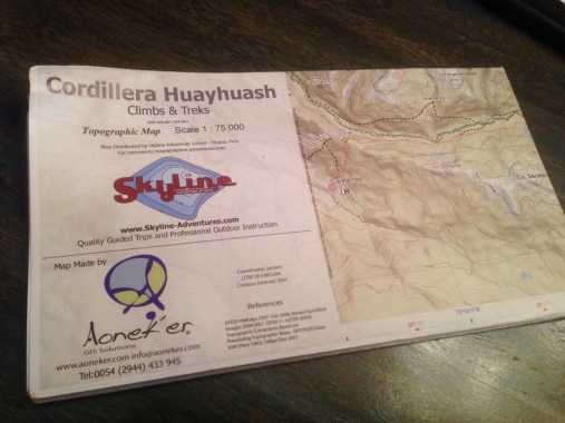 Our map for trekking Huayhuash independently