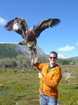 pretending to be an Eagle Hunter in Western Mongolia