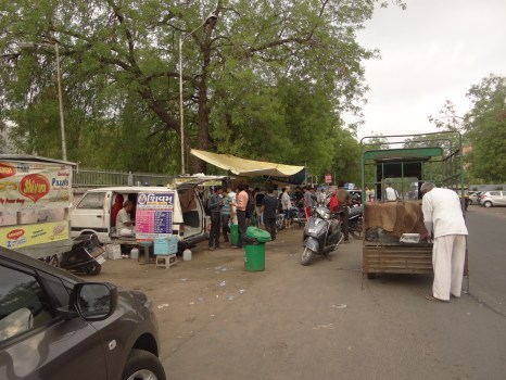 Portable stalls and converted vans are a usual sight in Ahmedabad