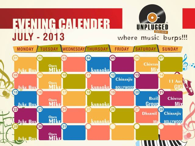 Unplugged Café n Grill - July Calendar