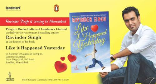 The author of Romance- Ravinder Singh in Ahmedabad