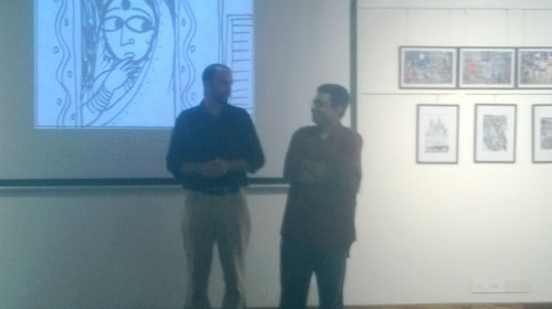 NID faculty Sekhar Mukherjee exhibits his doodles, cartoons, comic strips and more at the French Gallery of Alliance Francaise d'Ahmedabad.