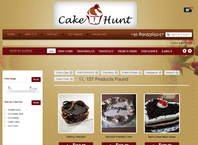 CakeHunt.com : Screenshot of website
