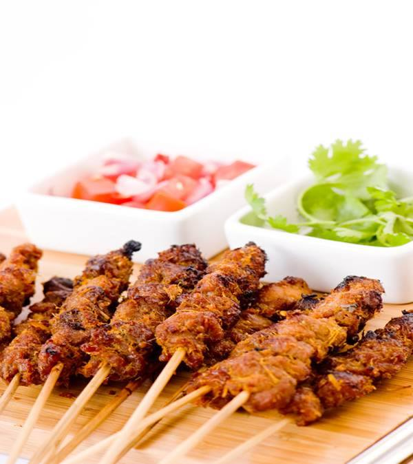 Satay on a stick in Ahmedabad at Hyatt