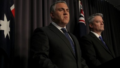 Hockey and Cormann reveal the MYEFO figures. Photo: Alex Ellinghausen (image from canberratimes.com.au)