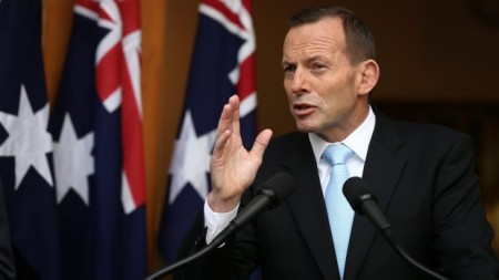 Tony Abbott during the press conference attacking The ABC (image from smh.com.au)