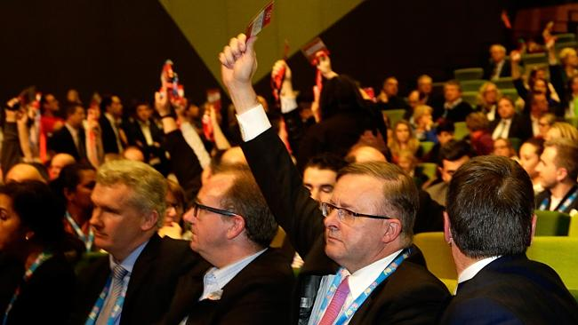 Frontbencher Anthony Albanese, second from right, votes against the turnbacks policy at the Labor national conference. Picture: Hamish Blair Source: theaustralian.com.au