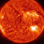 At 7:39 a.m., Active Region 1515 released an M6.1 class flare which peaked five minutes later. This image, taken by the Solar Dynamics Observatory (SDO), is shown in the 304 Angstrom wavelength, which is typically colorized in red and focuses on Helium in the chromosphere and transition region of the sun. (NASA/SDO/AIA)