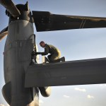 Staff Sgt. Casey Spang inspects one of the tilt-rotors on a CV-22 Osprey prior to takeoff on the flightline at Cannon Air Force Base, N.M., July 5, 2012. The 20th Special Operations Squadron conducted a routine training flight over Melrose Air Force Range, N.M. Spang is a 20th SOS flight engineer. (U.S. Air Force photo by Airman 1st Class Alexxis Pons Abascal)