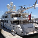 The Boardwak, a Westport 164 Yacht owned by billionaire Tilman Fertitta (Air Cache photo/John M. Guilfoil)