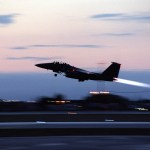 A U.S. Air Force F-15E Strike Eagle takes off from Aviano Air Base, Italy, for an air strike mission in support of NATO Operation Allied Force on March 28, 1999. Operation Allied Force is the air operation against targets in the Federal Republic of Yugoslavia.