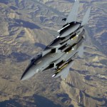 A U.S. Air Force F-15E Strike Eagle aircraft flies over Afghanistan in support of Operation Mountain Lion on April 12, 2006.