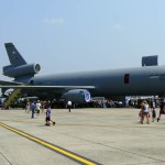 """A McDonnell Douglas KC-10 """"Extender"""" on display. Visitors could walk through many of these large planes and see the cockpits. (Air Cache photo/John M. Guilfoil)"""