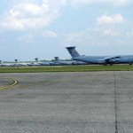 C-5 transports lined up at Westover Air Reserve Base (Air Cache photo/John M. Guilfoil)