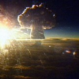 The Tsar Bomba mushroom cloud seen from 100 miles away