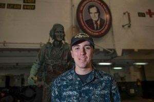 A Weymouth, Massachusetts, native and 2017 Weymouth High School graduate is serving in the U.S. Navy aboard the aircraft carrier USS George H.W. Bush. Seaman Benjamin MacDonald is serving aboard the carrier operating out of the Navy's largest base.