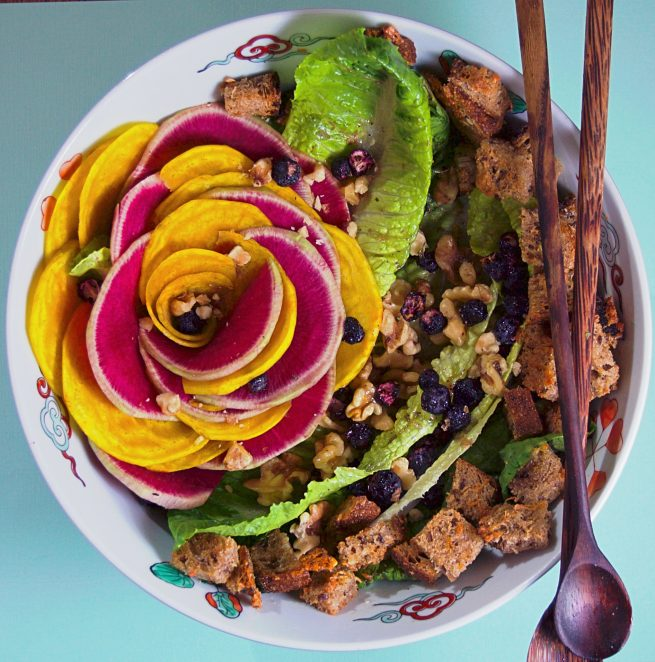 Easy beet, radish & blueberry salad