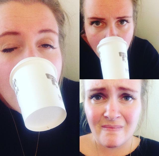 """Forsøk på å drikke kaffe """"handsfree"""". Klarer ikke løfte armene. Snakkas."""