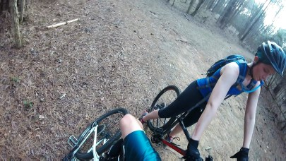 Kicking Michelle's bike