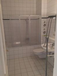 Typical German bathroom. Functional, not beautiful