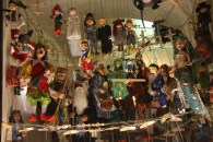 Marionettes and other wooden toys in the shop windows - slightly creepy at night