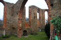 Ruins of a cathedral, turned into a graveyard.