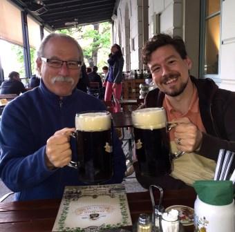 Enjoying liter beers (Mass) at a Dresden brewery