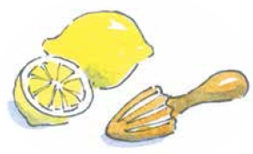 One and a half lemon and juicer painting by Carrie Hill for The Allotment Kitchen book by author Susan Williamson