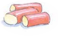 Illustration of Rhubarb chunks by Carrie Hill for The Allotment Kitchen by Susan Williamson